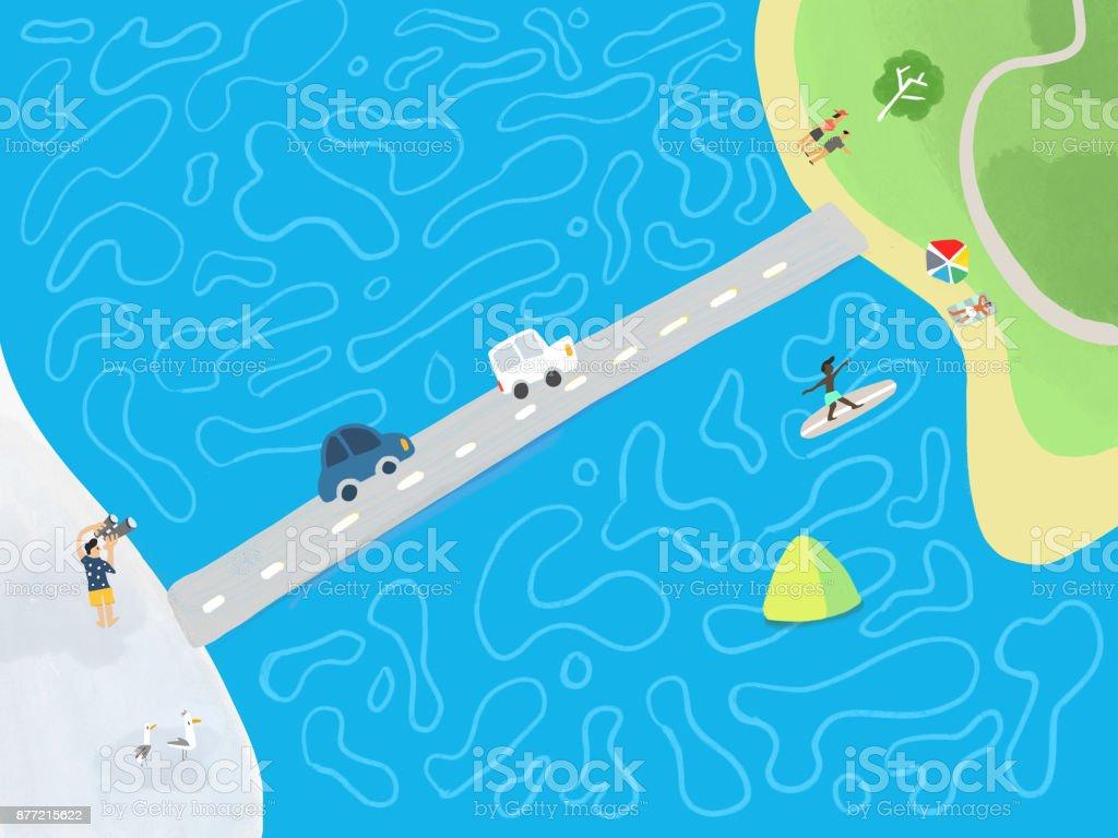 Ocean Drive vector art illustration