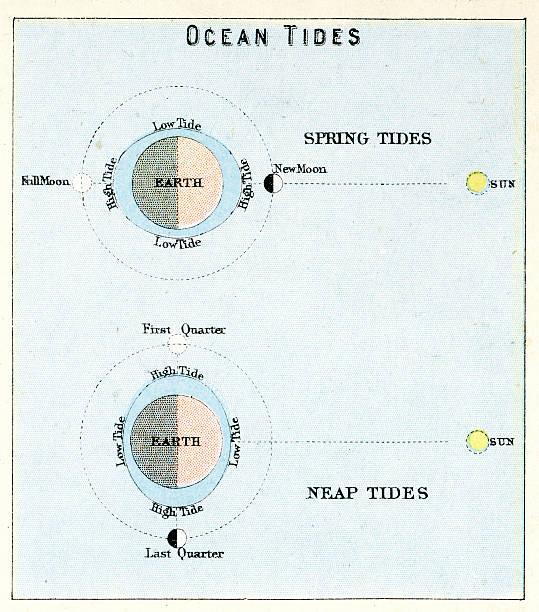 Ocean Tides Vintage engraving showing the Ocean Tides, 1891 tide stock illustrations