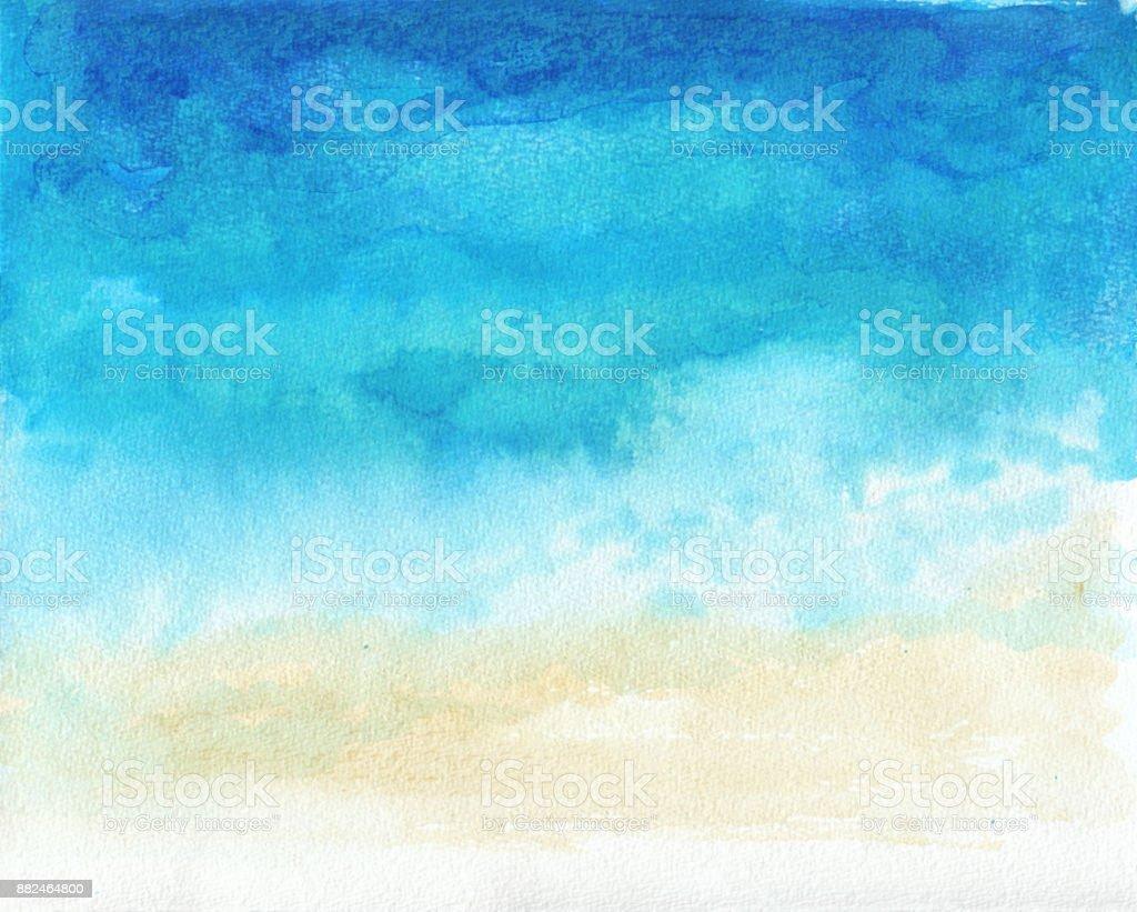 Ocean watercolor hand painting illustration vector art illustration