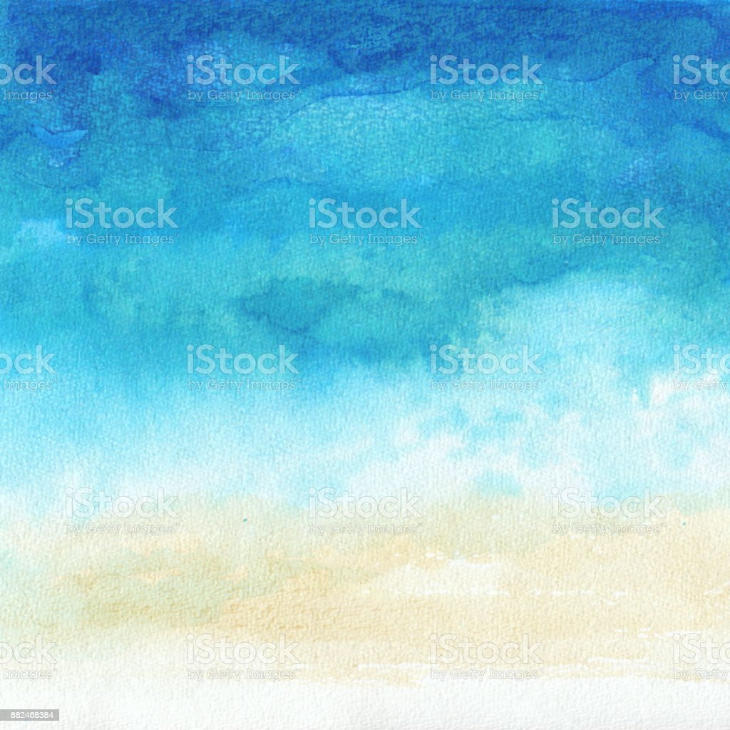 Ocean watercolor hand painting illustration royalty-free ocean watercolor hand painting illustration stock illustration - download image now