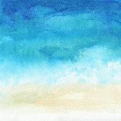 Ocean landscape. Beautiful watercolor hand painting illustration.