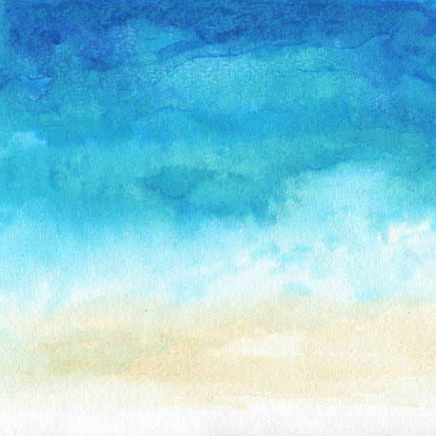 ocean watercolor hand painting illustration - watercolor background stock illustrations, clip art, cartoons, & icons