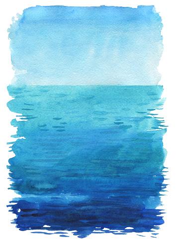 Ocean Akvarell Hand Målning Illustration-vektorgrafik och fler bilder på Abstrakt