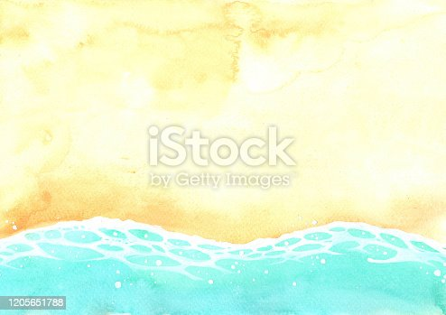 Ocean wave on top view at coastal beach watercolor hand painting background for decoration on summer season.