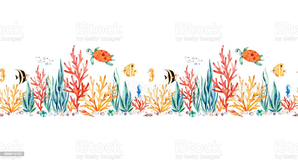Oceanic creature seamless repeat border with cute turtle,seaweed,coral reef,fishes,seahorse vector art illustration
