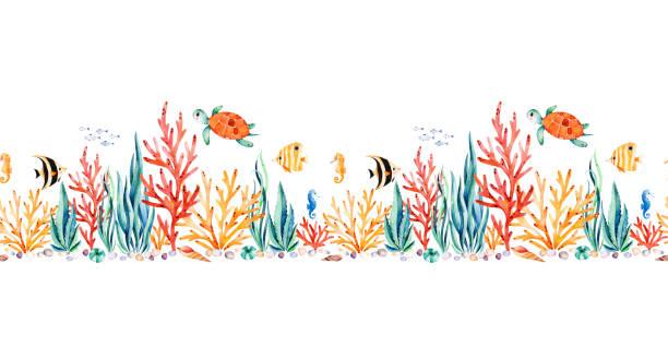 かわいいカメ、海藻、サンゴ礁、魚、タツノオトシゴと海洋生物シームレスな繰り返しの国境 - 水族館点のイラスト素材/クリップアート素材/マンガ素材/アイコン素材