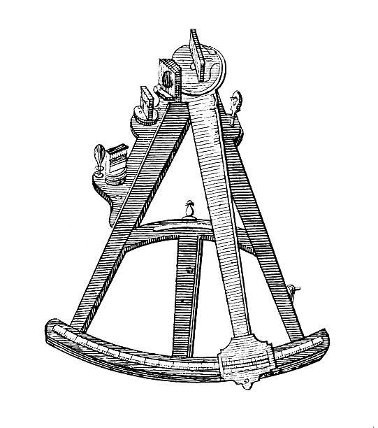 ilustrações de stock, clip art, desenhos animados e ícones de octant antigo ilustrações/ciência - sextante