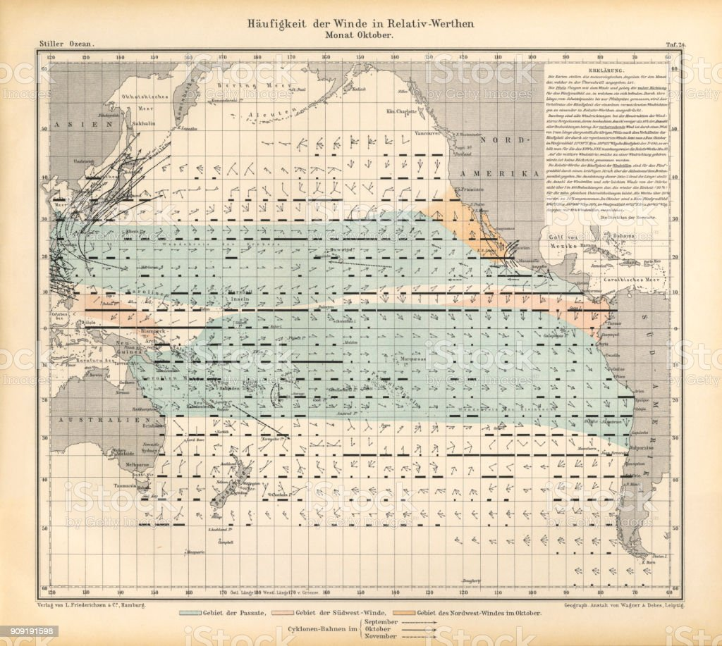 October Frequency of Winds in Relative Values Chart, Pacific Ocean, German Antique Victorian Engraving, 1896 vector art illustration