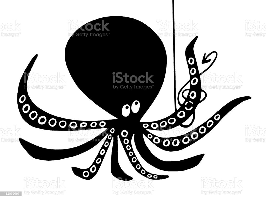 Octopus and Fishing Line vector art illustration