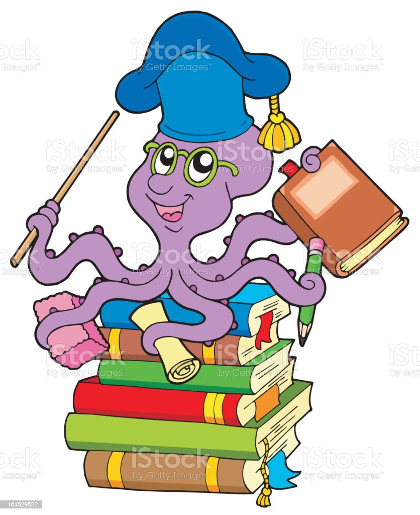 Octopus teacher on pile of books royalty-free octopus teacher on pile of books stock vector art & more images of animal