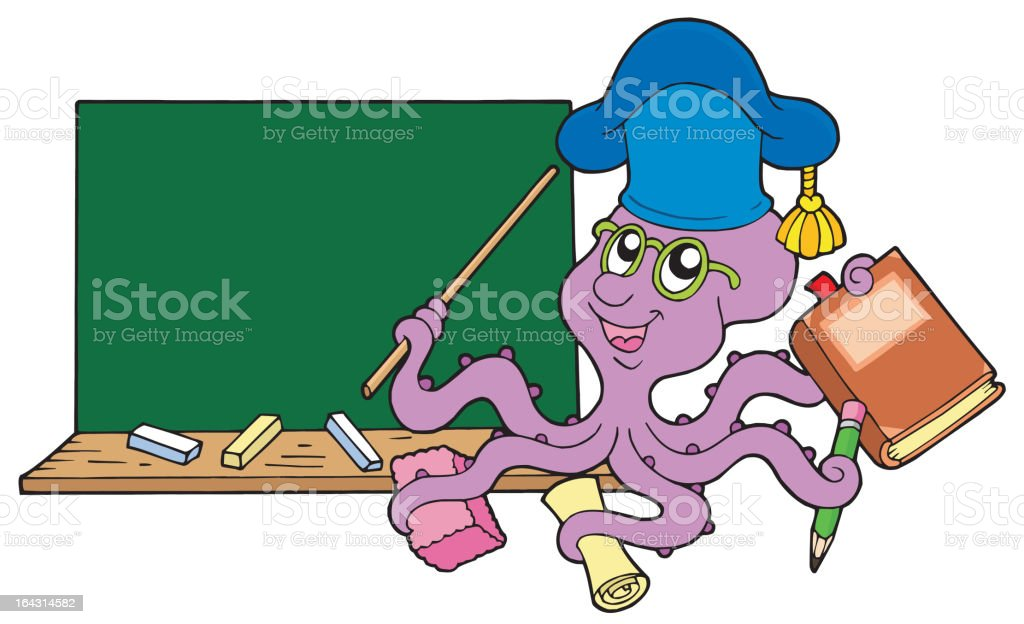Octopus teacher with blackboard royalty-free stock vector art