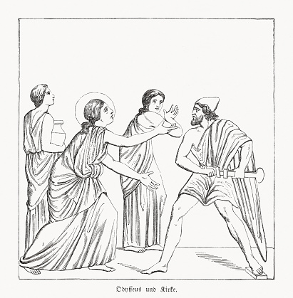 Odysseus and Circe, Homer's Odyssey, wood engraving, published in 1868