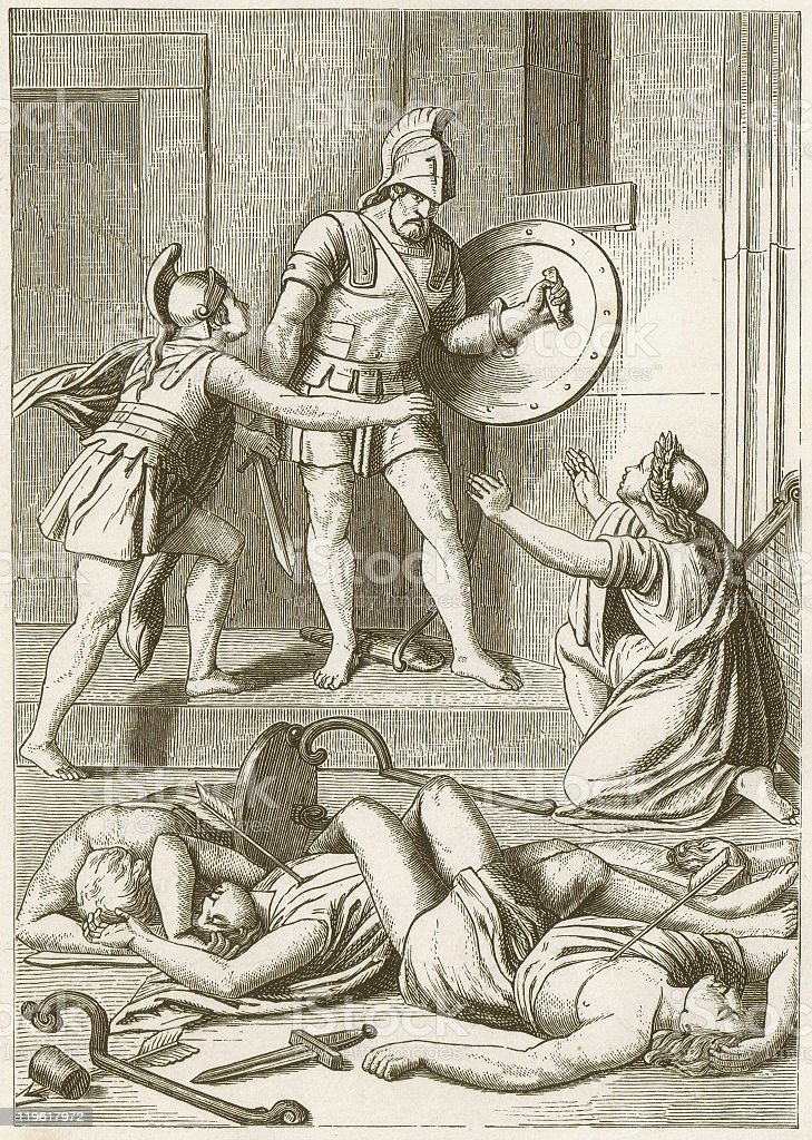 Odysseus kill the suitors, Greek mythology, published in 1883 royalty-free stock vector art