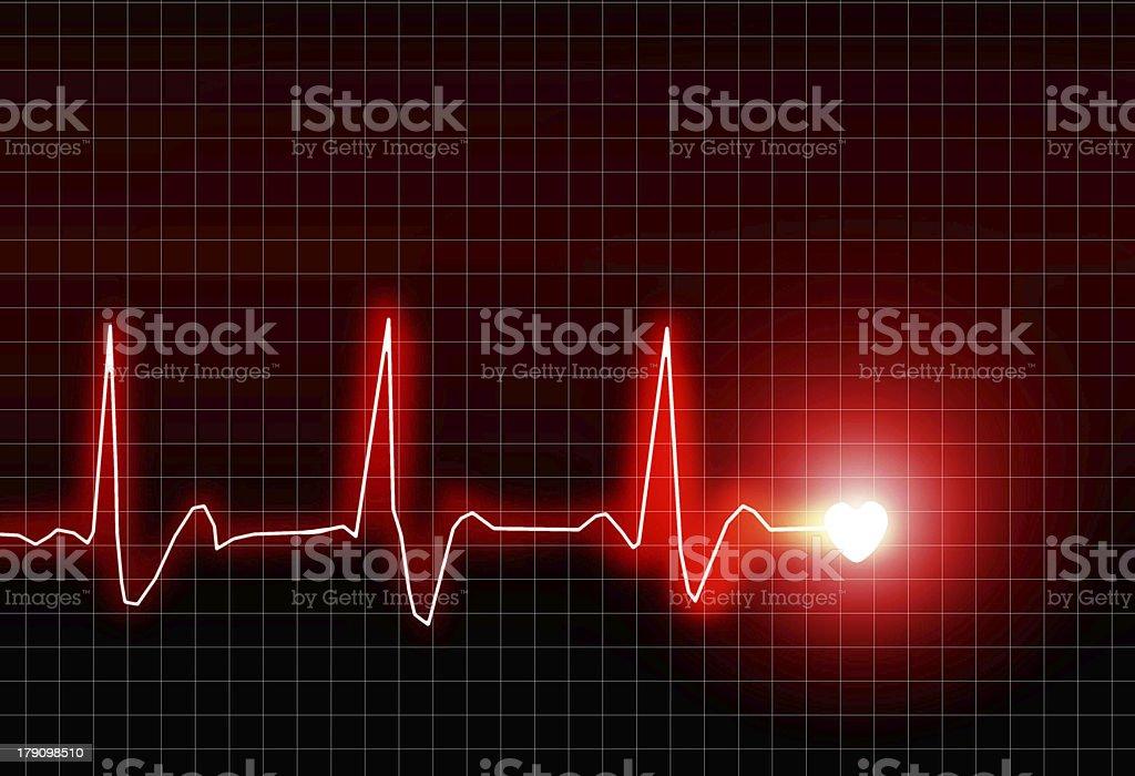 EKG of a heart rhythm with a heart at the end vector art illustration