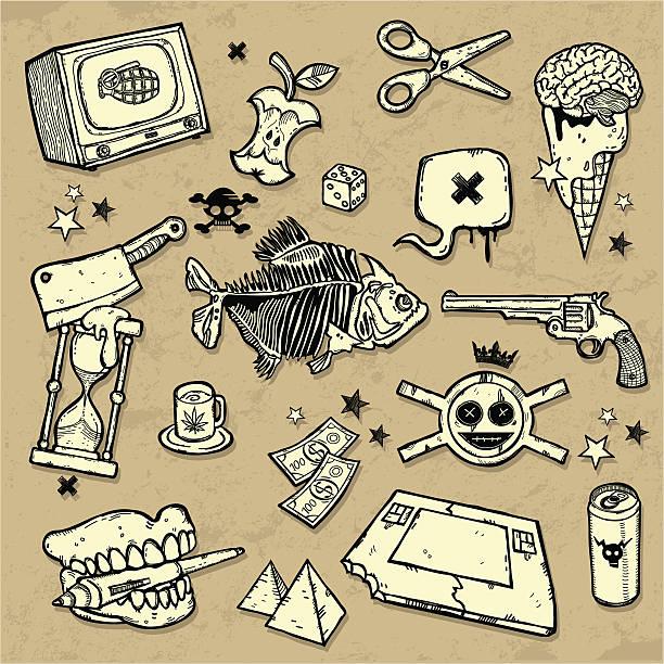 bildbanksillustrationer, clip art samt tecknat material och ikoner med mix of design elements - coffe with death