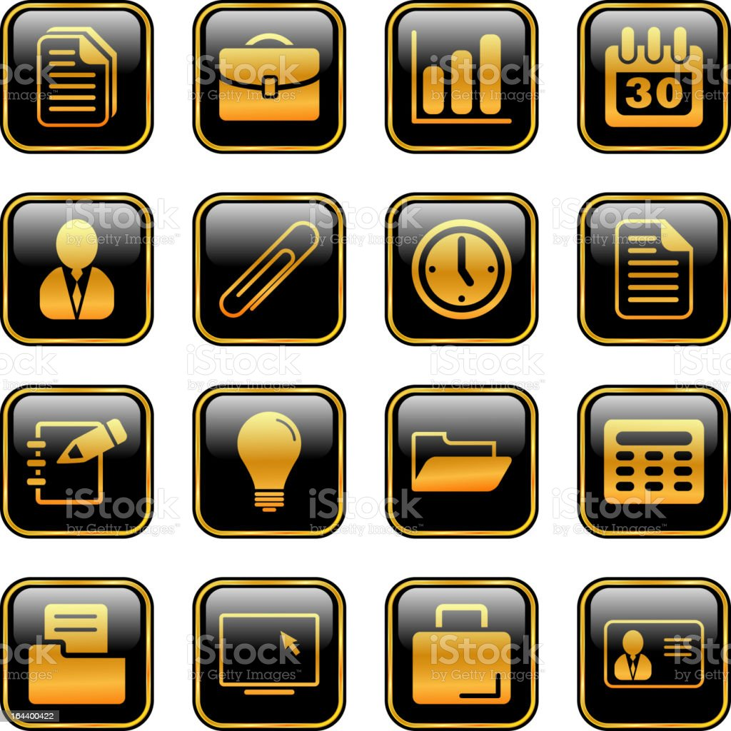 Office and business icons - golden series royalty-free stock vector art
