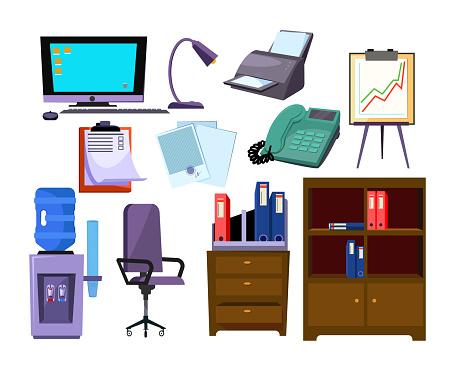 Office attributes illustration set