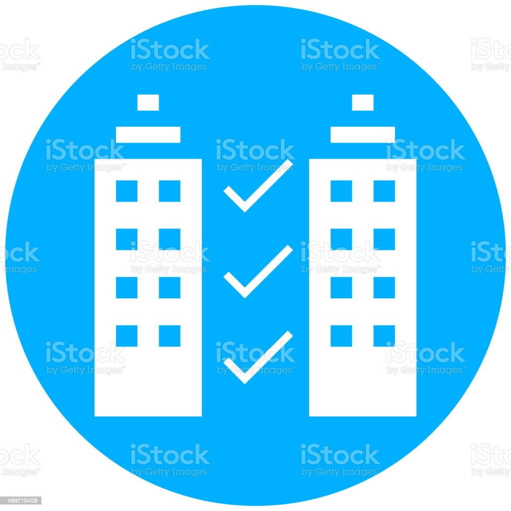 Office Building icon on a round button. royalty-free office building icon on a round button stock vector art & more images of 2015