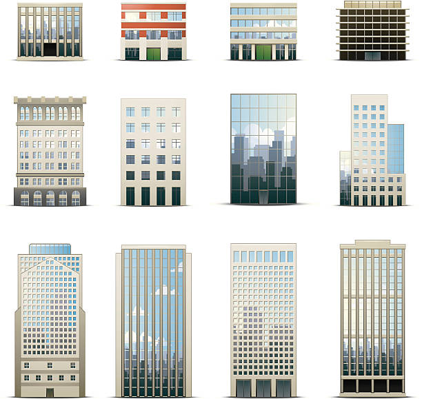 Office Building Icons  facade stock illustrations