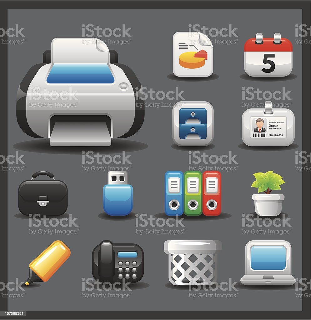 Office & Business Icon Set   Shiny Series / Dark royalty-free stock vector art