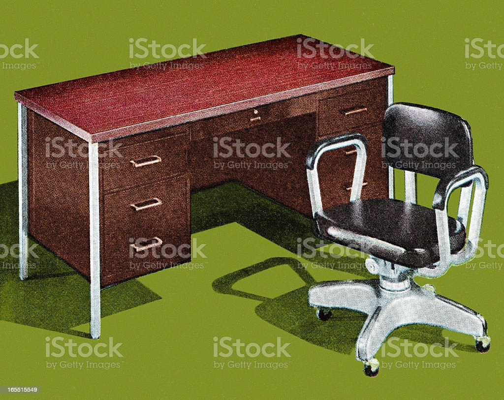 Office Desk and Chair royalty-free stock vector art