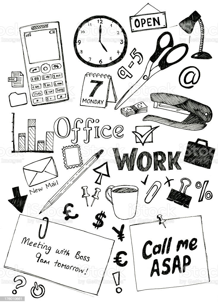 Office doodles royalty-free office doodles stock vector art & more images of 'at' symbol