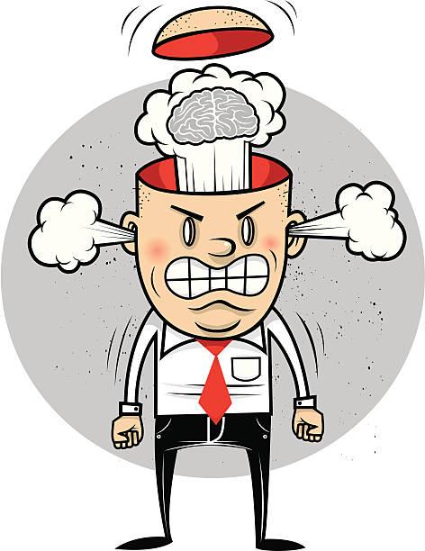 stockillustraties, clipart, cartoons en iconen met office everyman blows his top - kaal geschoren hoofd