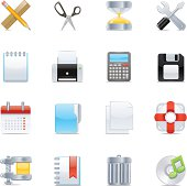 Vector set of 16 office application icons.