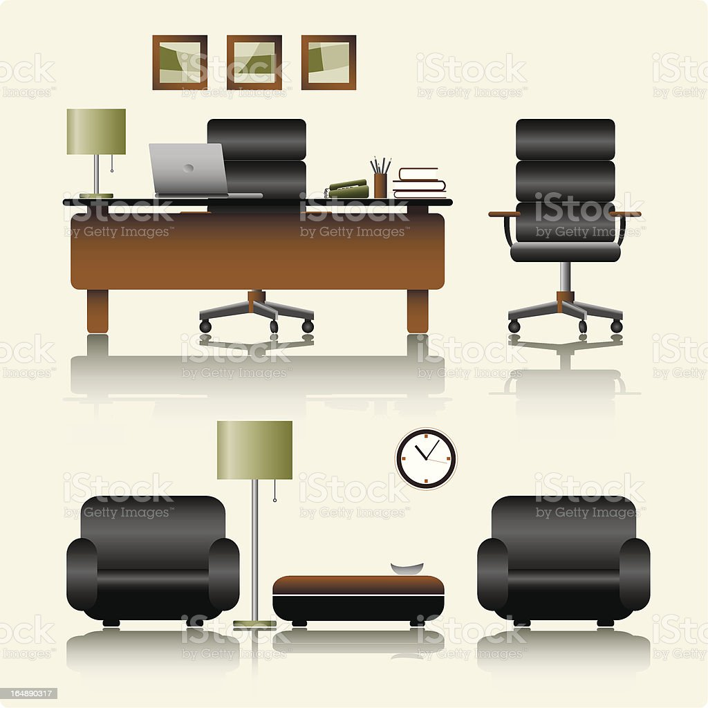 office in color royalty-free stock vector art