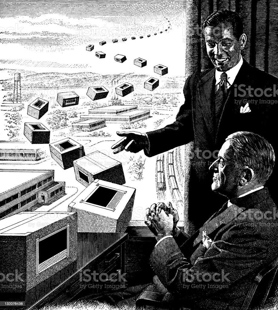 Office Scene with Products Flying Out the Window royalty-free stock vector art