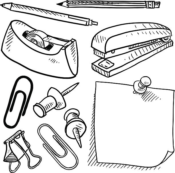 사무용품 벡터 도면 - 클립 문구류 stock illustrations