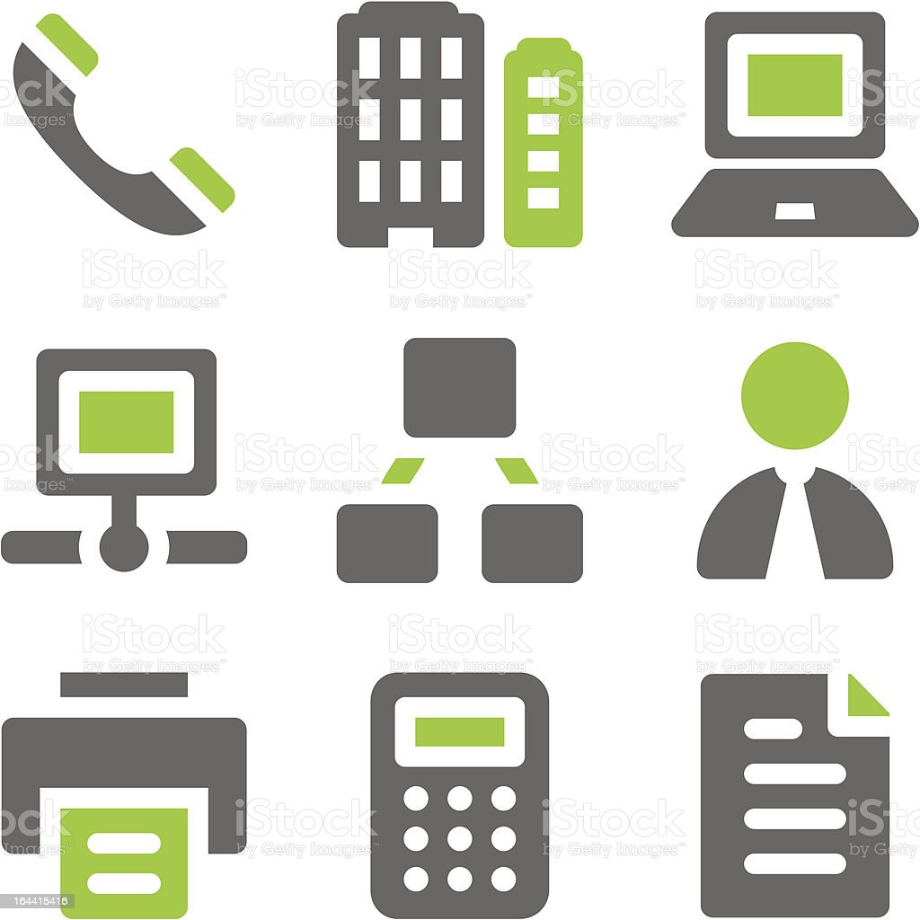 Office web icons, green grey solid series royalty-free stock vector art