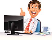 """A young happy office worker at his computer gesturing thumb up, isolated on white. EPS 8, fully editable and labeled in layers."""