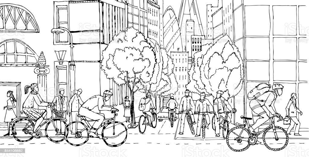 Trabalhadores de escritório comutarem ao centro da cidade por motos. Ciclistas nas estradas da cidade. Ilustração do conceito de vida saudável. - ilustração de arte em vetor