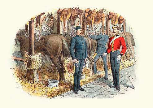 Officer inspecting soldiers in cavalry stables, Victorian British Military 19th Century