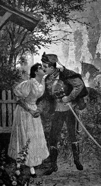 officer kisses his sweetheart - 1896 - romance stock illustrations, clip art, cartoons, & icons