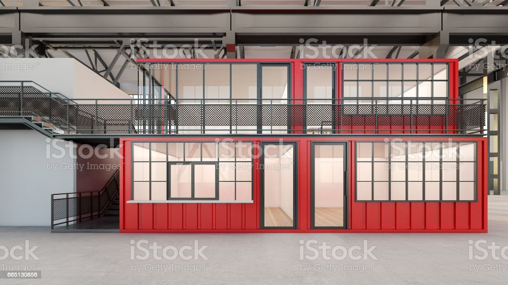 Offices built from shipping containers with staircase , 3d rendering vector art illustration