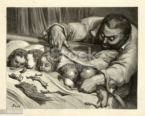 Vintage engraving of The ogre, tricked by Tom Thumb, about to cut the throats of his own daughters. Hop O' My Thumb, Fairy Tales of Charles Perrault illustrated by Gustave Dore