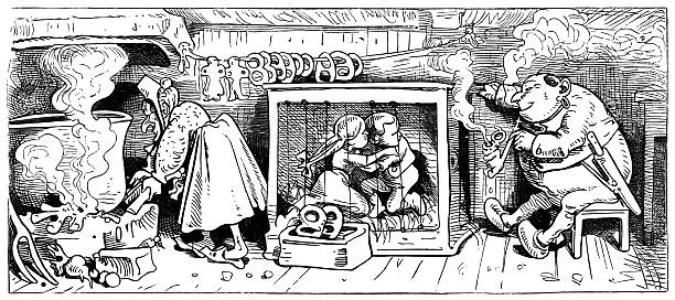 ogres planning to cook and eat two frightened children - old man smoking pipe cartoons stock illustrations, clip art, cartoons, & icons