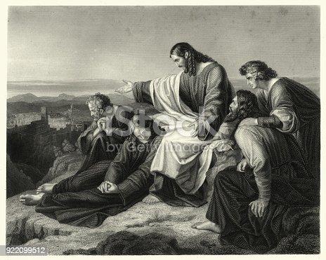 Vintage engraving of Oh Jerusalem Jerusalem you who kill the prophets