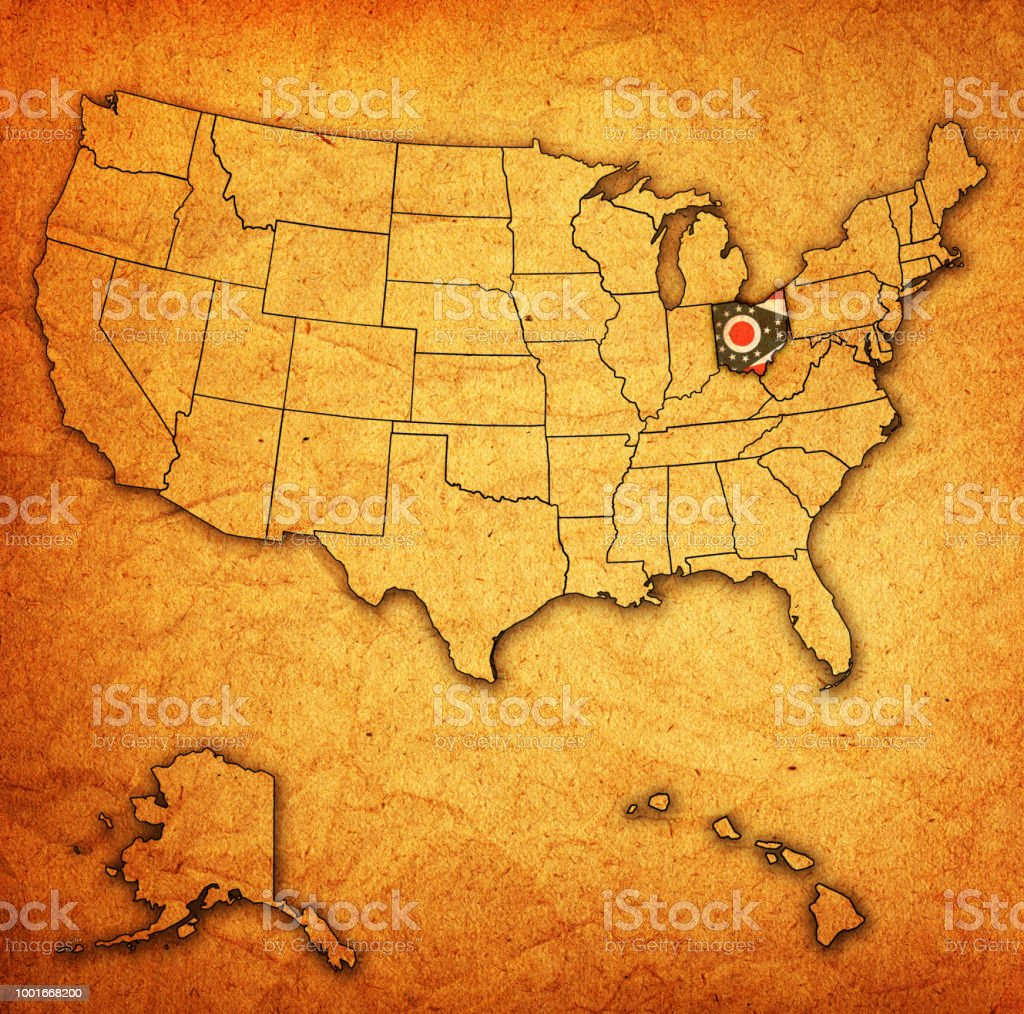 Ohio Flag On Map With Administrative Divisions Of Usa Stock Vector