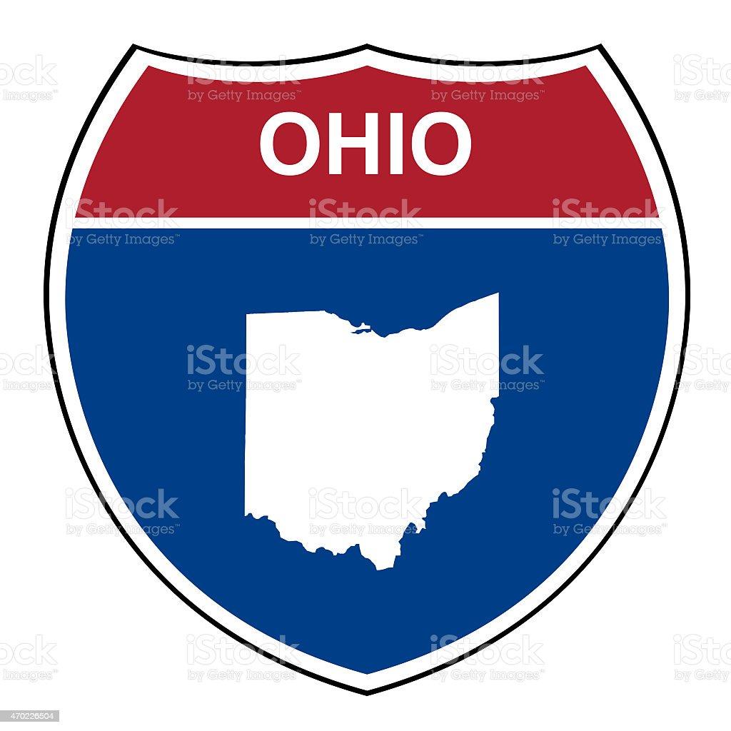 Ohio interstate highway shield vector art illustration