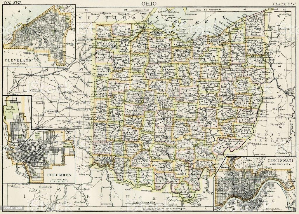 Ilustracion De Mapa De Ohio 1884 Y Mas Banco De Imagenes De