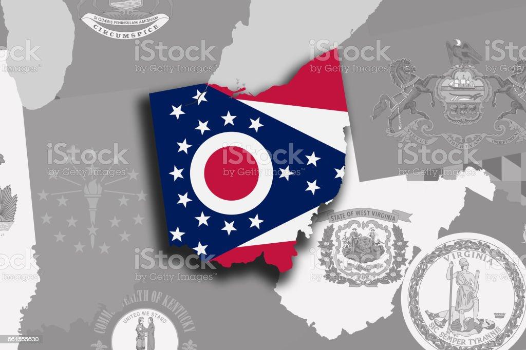 Ohio map and flag vector art illustration