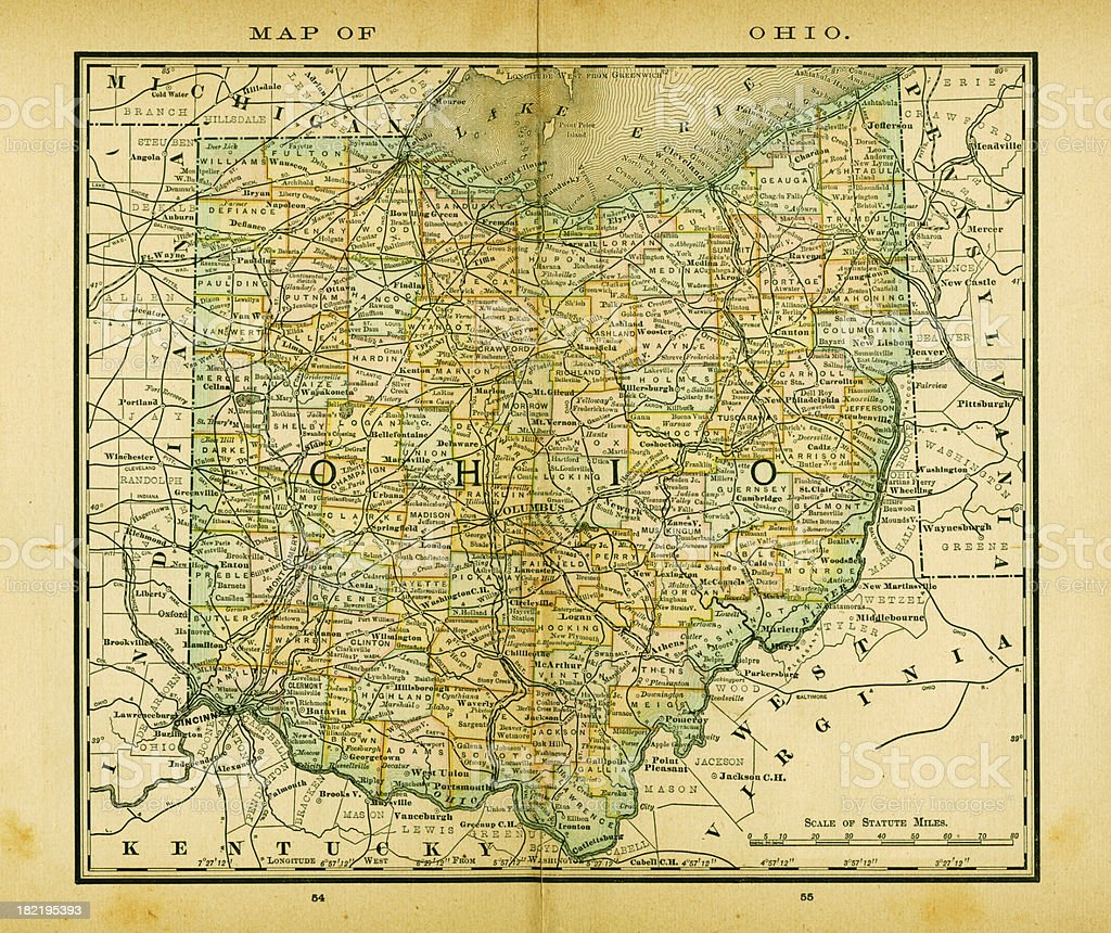 Ohio Usa Antique Maps High Resolution Stock Vector Art - Usa map high resolution