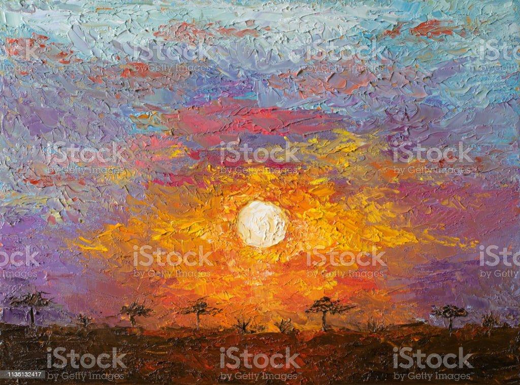 Olie Kunst Op Canvas Van Zonsondergang In De Afrikaanse Savannelandschap Spectaculaire Warme Licht Van De Zon Moderne Impressionisme Artwork Stockvectorkunst En Meer Beelden Van Acacia Istock