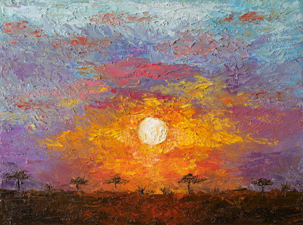 Oil art on canvas of sunset in African savannah landscape. Spectacular warm light of the sun. Modern impressionism artwork. Oil art on canvas of sunset in African savannah landscape. Spectacular warm light of the sun. Modern impressionism artwork. Palette knife painting. impressionism stock illustrations