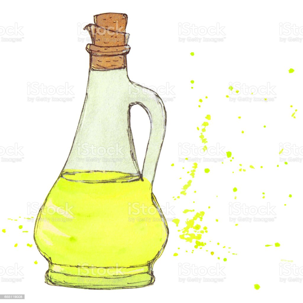 Oil bottle. Olive oil bottle with cork, drops and splashes. Watercolor isolated object. vector art illustration