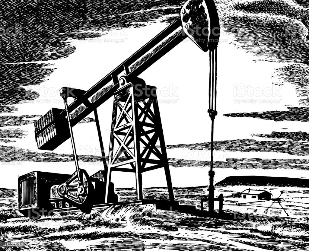 Oil Drilling royalty-free oil drilling stock vector art & more images of black and white