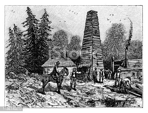 Steel engraving of oil rigs in United States  Graveur : Kohl Original edition from my own archives Source :